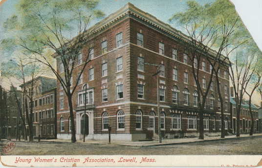 A postcard of the former YWCA Lowell at 50 John St.