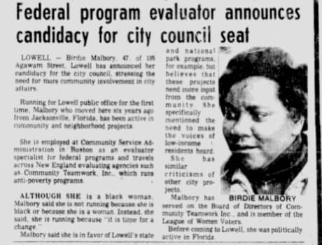 Newspaper article featuring Birdie Malbory courtesy Lowell National Historical Park