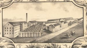 This illustration shows the Lowell Company in 1850; a series of long mill buildings with gabled roofs, five stories and many windows in the back with smaller buildings of various sizes lined up along the street.