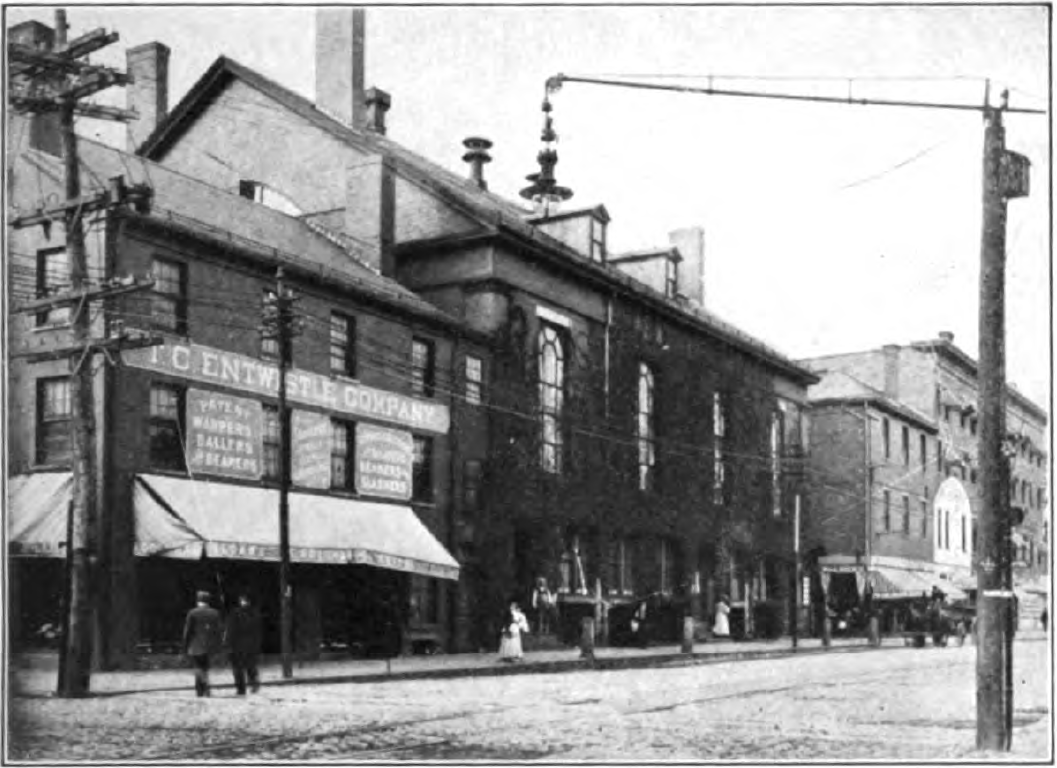 A view of Mechanics Hall from Dutton Street in 1912