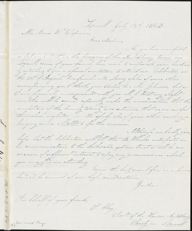 Letter from John Levy, Lowell, [Massachusetts], to Maria Weston Chapman, 1843 July 15