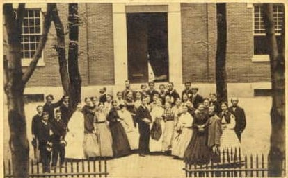 Lowell High School and Students, Anne Street, 1866.
